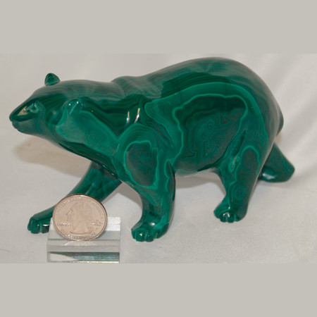 Malachite Bear Carving 1011