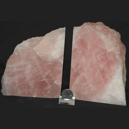 "Rose quartz bookends from Brazil. A wonderful gift or piece of decor for any home or also an office. Dimensions: 2.5""Lx9.8""Wx6.5""H. Wt.: 10.8 Lbs. You will receive the item pictured here. Rose Quartz Bookend Set 1014"