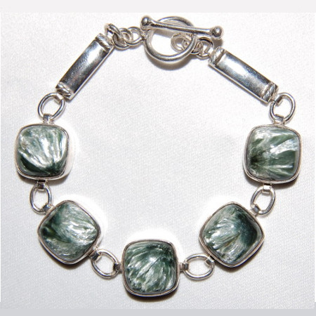 Seraphinite and Sterling Bracelet - Russia 1049