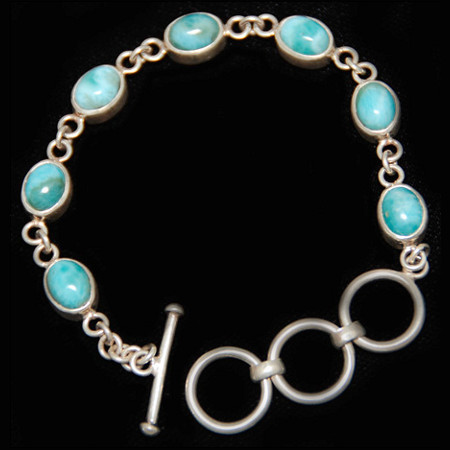 Larimar and Sterling Bracelet 1050 produced in the Domiican Republic