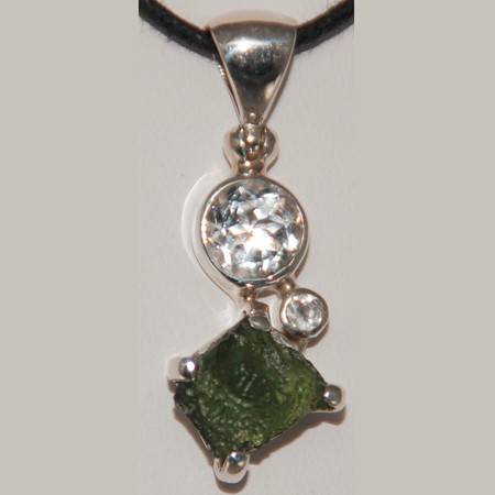 Rough Moldavite and Faceted White Topaz Sterling Silver Pendant. 1052