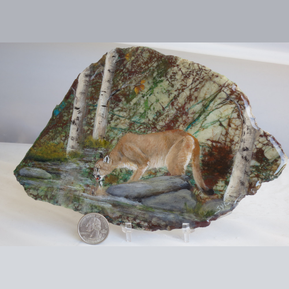 Mountain Lion on Chrysocolla 1078