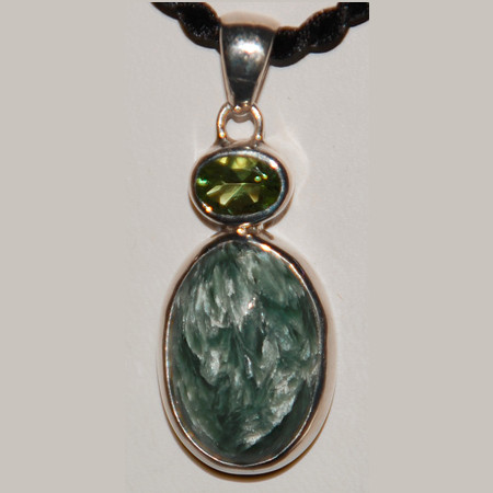 Seraphinite and Peridot Pendant 1100